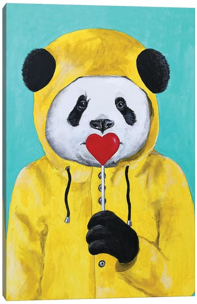 Panda With Lollipop Canvas Art Print