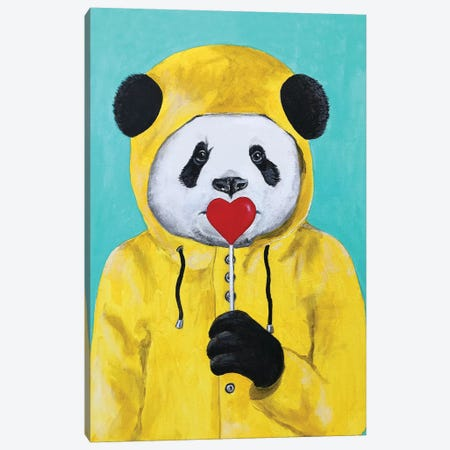 Panda With Lollipop Canvas Print #COC280} by Coco de Paris Canvas Wall Art