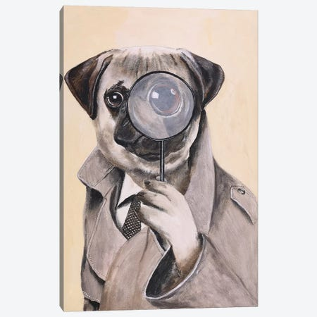Pug Sherlock Holmes Canvas Print #COC281} by Coco de Paris Canvas Artwork