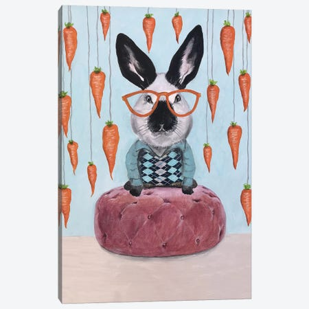 Rabbit With Carrots Canvas Print #COC282} by Coco de Paris Canvas Art