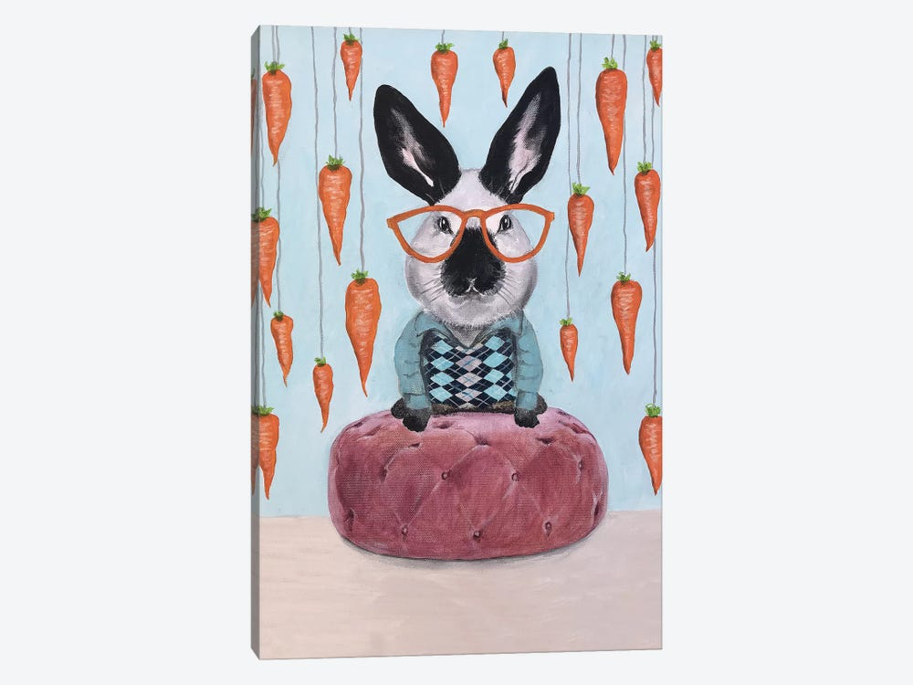Rabbit With Carrots 1-piece Canvas Art