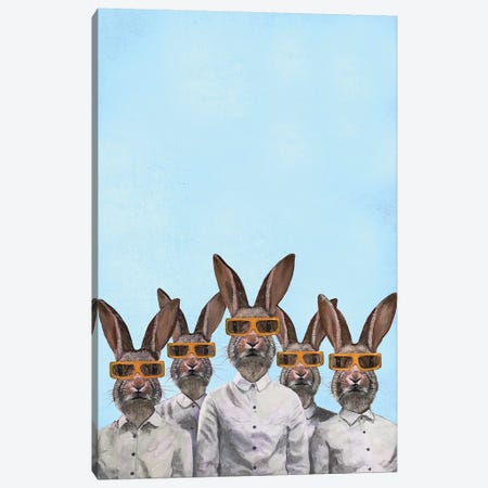 Rabbits With 3D Spectacles Canvas Print #COC283} by Coco de Paris Canvas Art
