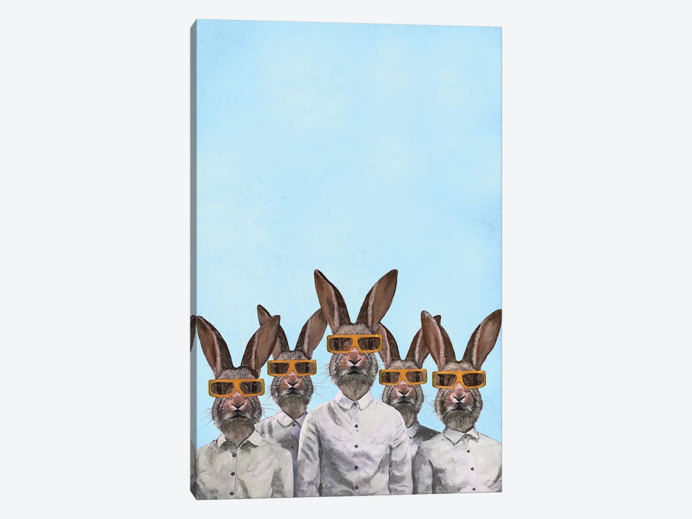 Rabbits With 3D Spectacles 1-piece Canvas Art Print