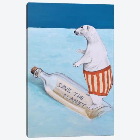 Save The Planet Polar Bear Canvas Print #COC284} by Coco de Paris Art Print