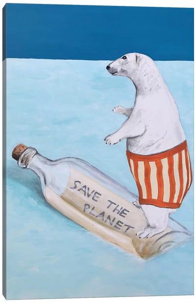 Save The Planet Polar Bear Canvas Art Print