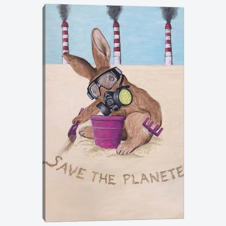 Save The Planet Rabbit Canvas Print #COC285} by Coco de Paris Art Print