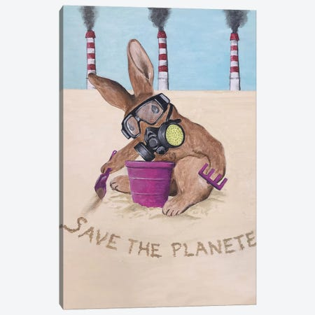Save The Planet Rabbit Canvas Print #COC285} by Coco de Paris Art Print