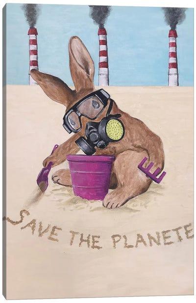 Save The Planet Rabbit Canvas Art Print
