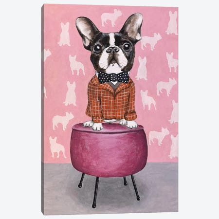 Bulldog On Pouf Canvas Print #COC286} by Coco de Paris Canvas Print