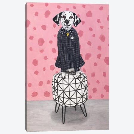 Dalmatian On Pouf Canvas Print #COC288} by Coco de Paris Canvas Wall Art