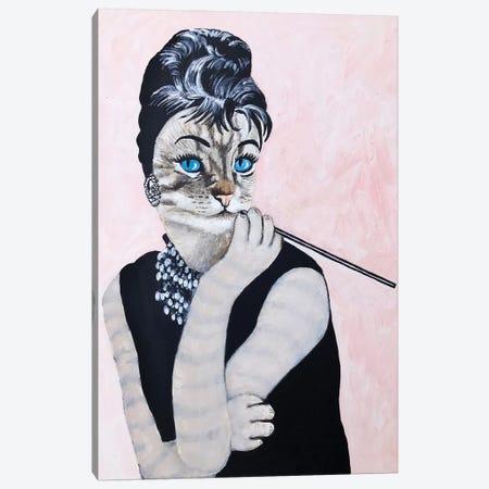 Audrey Hepburn Cat Canvas Print #COC289} by Coco de Paris Canvas Art