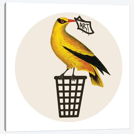 Bird On Dustbin Canvas Print #COC291} by Coco de Paris Canvas Print