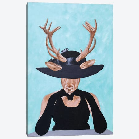 Deer Vogue Canvas Print #COC295} by Coco de Paris Canvas Wall Art