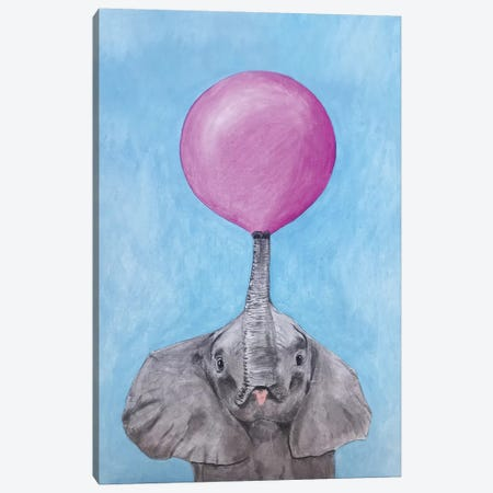 Elephant With Bubblegum Canvas Print #COC296} by Coco de Paris Canvas Art