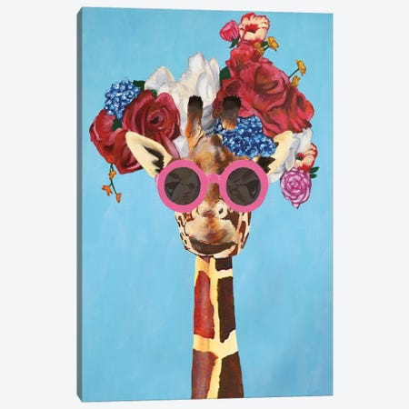 Giraffe Flower Power Canvas Print #COC297} by Coco de Paris Canvas Wall Art
