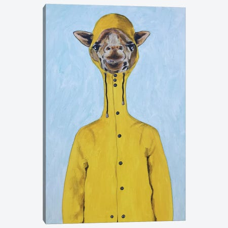 Giraffe Raincoat Canvas Print #COC298} by Coco de Paris Art Print