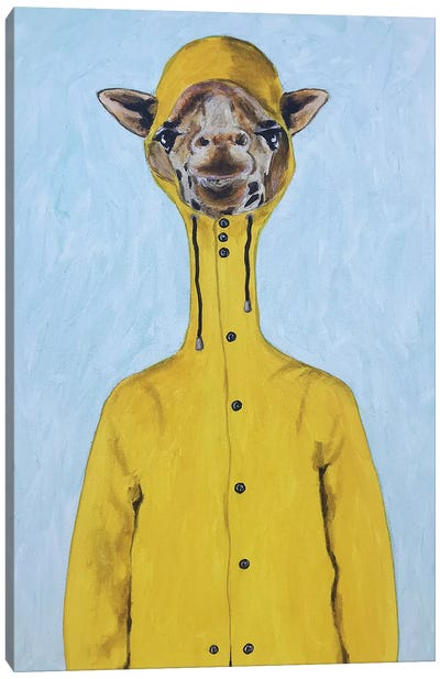 Giraffe Raincoat Canvas Art Print