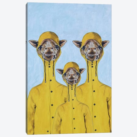 Giraffe Raincoat Family Canvas Print #COC299} by Coco de Paris Art Print