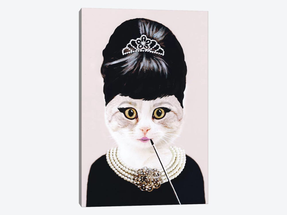 Audrey Hepburn Cat by Coco de Paris 1-piece Canvas Wall Art