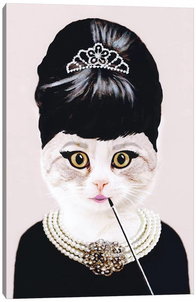 Audrey Hepburn Cat Canvas Art Print