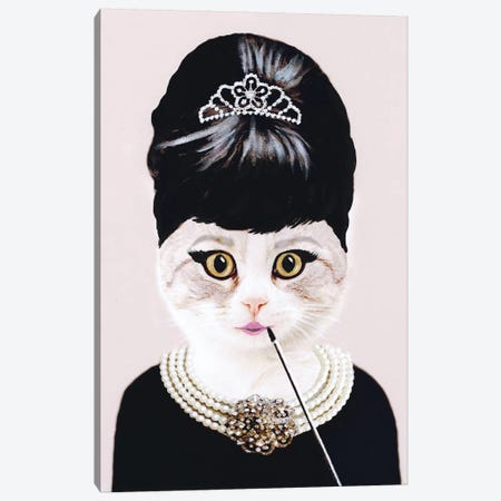 Audrey Hepburn Cat Canvas Print #COC2} by Coco de Paris Art Print