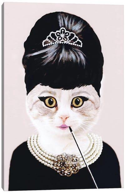 Audrey Hepburn Cat Canvas Art Print