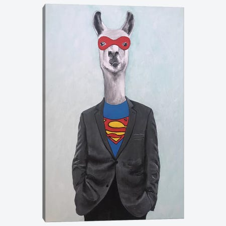 Llama Superman Canvas Print #COC300} by Coco de Paris Canvas Art Print