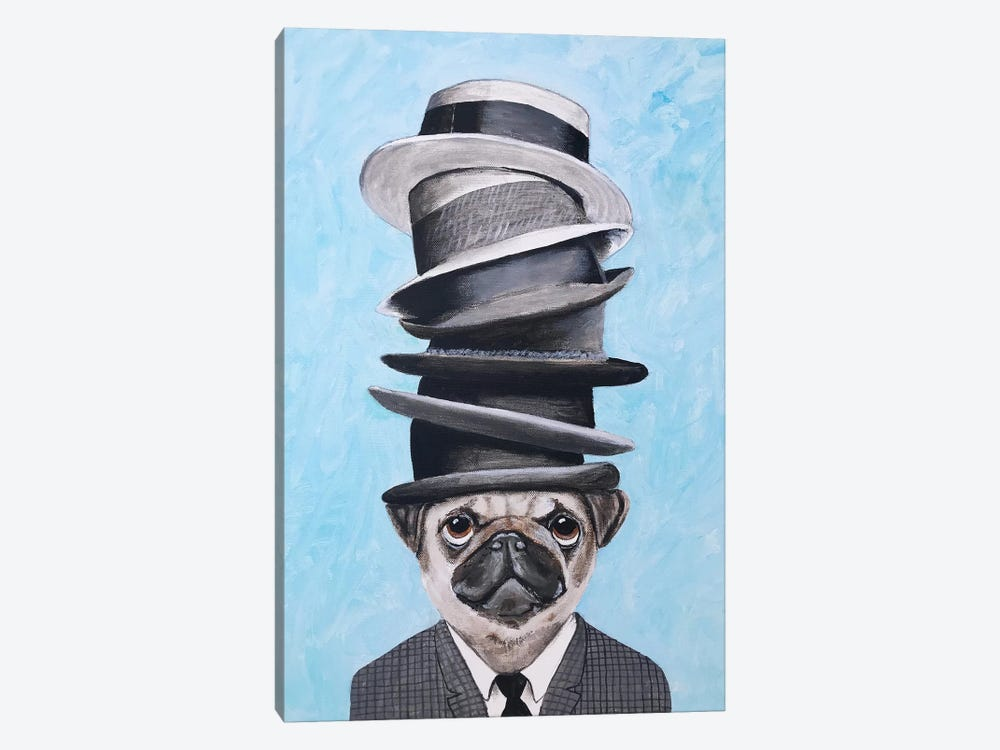 Pug With Steacking Hats by Coco de Paris 1-piece Canvas Wall Art