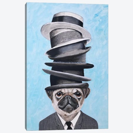 Pug With Steacking Hats Canvas Print #COC301} by Coco de Paris Art Print