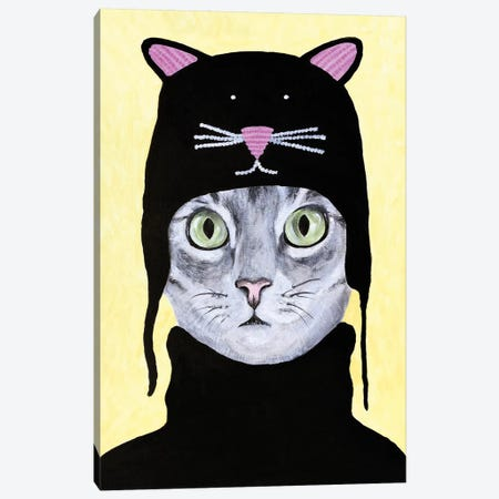 Cat With Cat Hat Canvas Print #COC303} by Coco de Paris Canvas Print