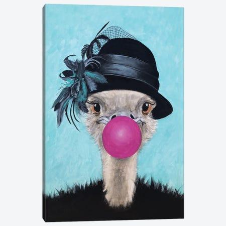 Ostrich With Bubblegum Canvas Print #COC305} by Coco de Paris Canvas Wall Art