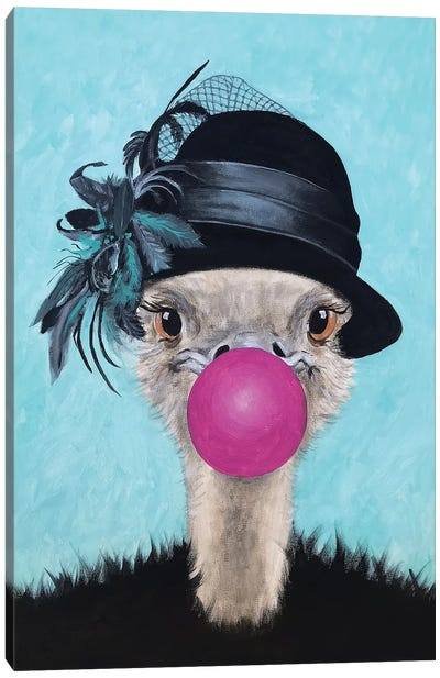 Ostrich With Bubblegum Canvas Art Print