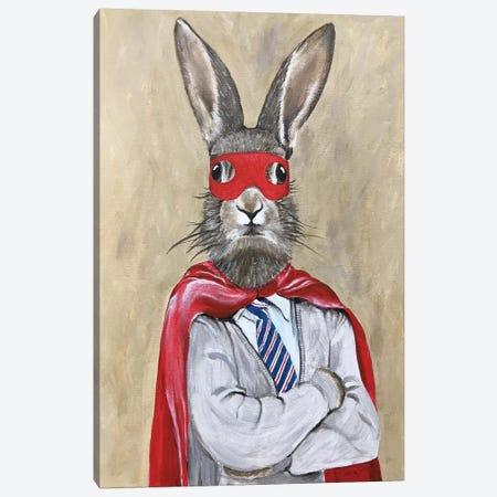 Rabbit Superman Canvas Print #COC307} by Coco de Paris Canvas Art
