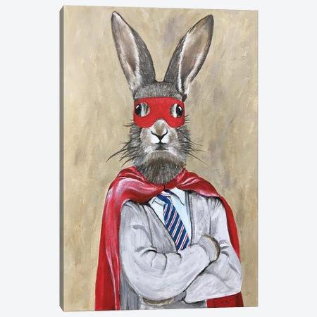 Rabbit Superman Canvas Print #COC307} by Coco de Paris Canvas Art