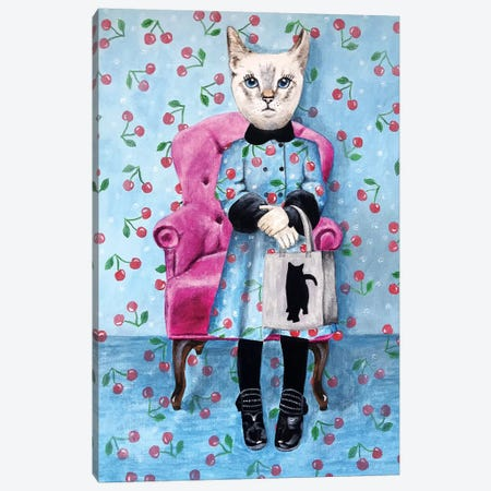 Cat With Cat Bag Canvas Print #COC308} by Coco de Paris Art Print