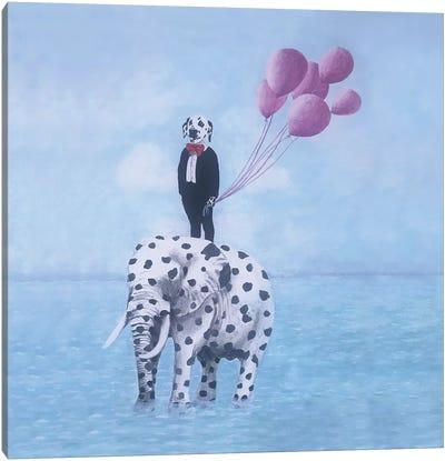 Dalmatian With Dalmatian Elephant Canvas Art Print