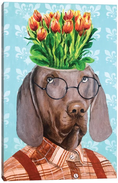Weimaraner With flowers Canvas Art Print