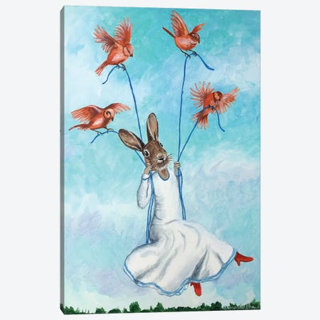 Rabbit On Swing With Birds Canvas Print #COC316} by Coco de Paris Canvas Art Print