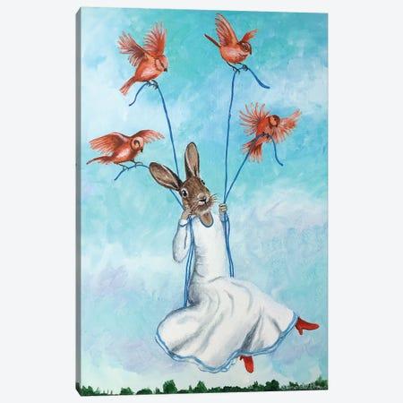 Rabbit On Swing With Birds Canvas Print #COC316} by Coco de Paris Canvas Art Print
