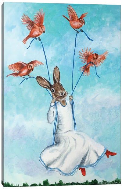 Rabbit On Swing With Birds Canvas Art Print