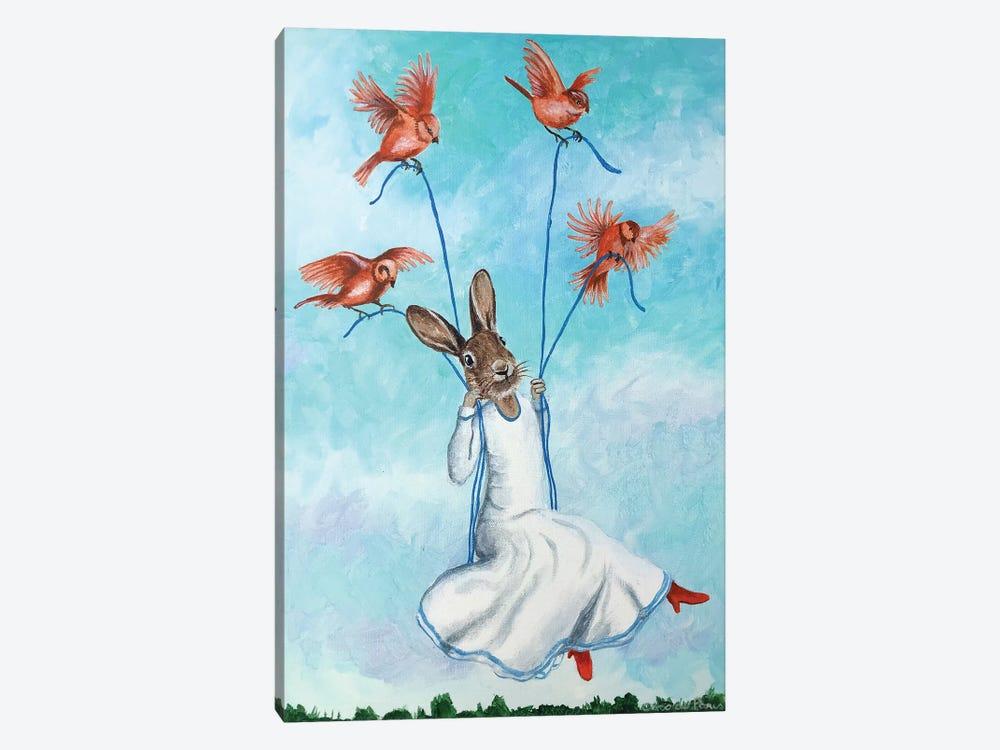Rabbit On Swing With Birds by Coco de Paris 1-piece Canvas Wall Art