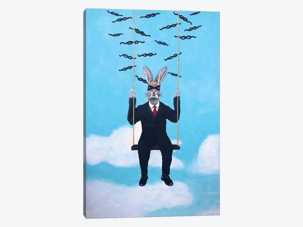 Masked Rabbit On A Swing by Coco de Paris 1-piece Canvas Print