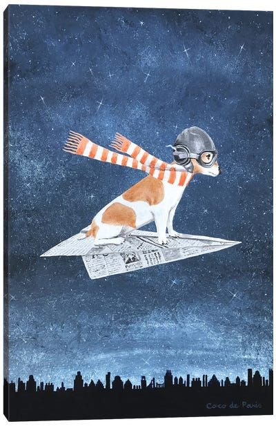Jack Russell On A Paper Plane Canvas Art Print