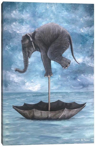 Elephant In Balance Canvas Art Print