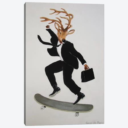 Deer Skater Canvas Print #COC31} by Coco de paris Art Print