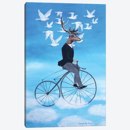 Dreaming Deer Cycling Canvas Print #COC320} by Coco de Paris Canvas Art Print