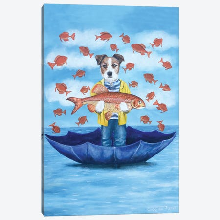 Jack Russell With Big Fish Canvas Print #COC322} by Coco de Paris Canvas Print