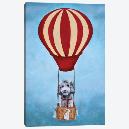 Poodle With Hot Airballoon Canvas Print #COC324} by Coco de Paris Canvas Wall Art
