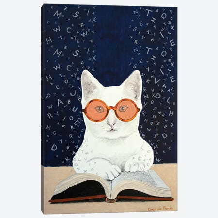 Cat Reading A Book Canvas Print #COC327} by Coco de Paris Canvas Wall Art