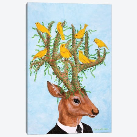 Deer With Yellow Birds Canvas Print #COC328} by Coco de Paris Canvas Art Print